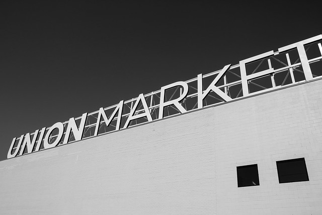 Union Market sign in black and white