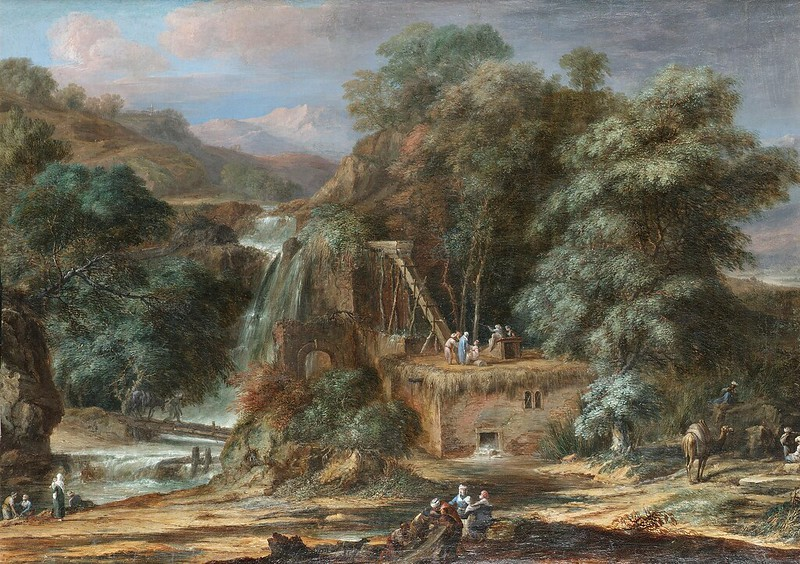 Christoph Ludwig Agricola - A river landscape with figures constructing an aqueduct beside waterfalls, oriental figures and camels nearby
