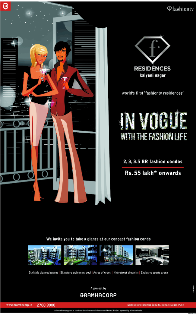 "Bramhacorp's ""F Residences"" 2 BHK 3 BHK 3.5 BHK Flats near Bramha SunCity Wadgaon Sheri Kalyani Nagar Annex  Pune (6-12-2013)"