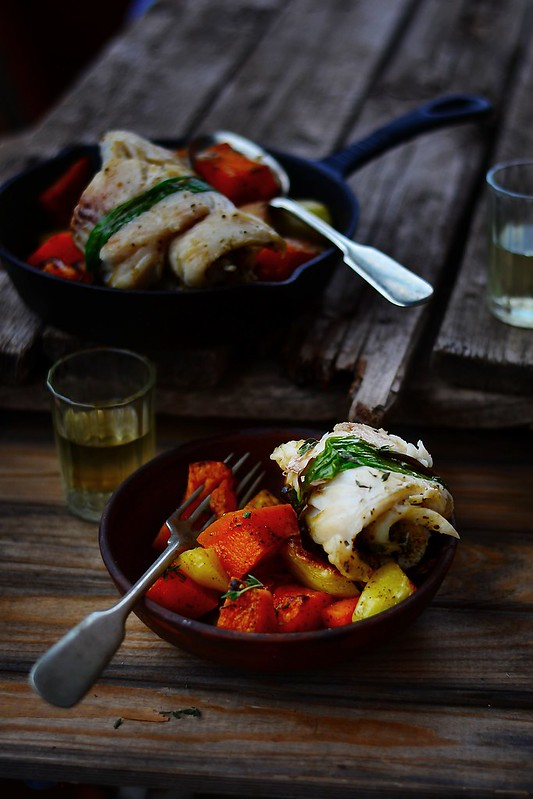 fish roll with roasted vegetables.4