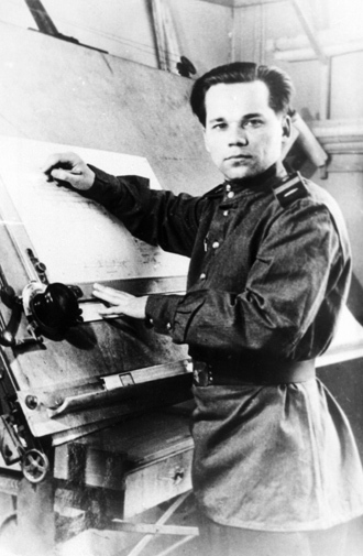 Senior Sergeant Mikhail Kalashnikov as he designed his AK-47 assault rifle.