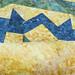 238_Navy Landscape Batik Gold Table Topper_n