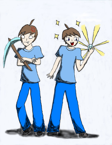 Steve and Herobrine in real life Digital Drawing by jaklumen & family