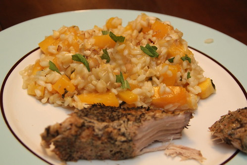 Pork and squash risotto