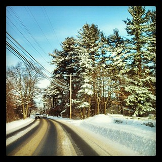 My drive in this morning #newengland #snow #winterwonderland #trees #sky #winter
