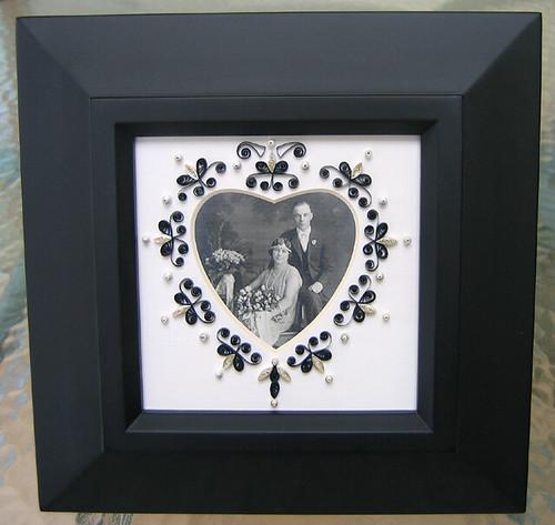 Quilled Wedding Portrait in Frame