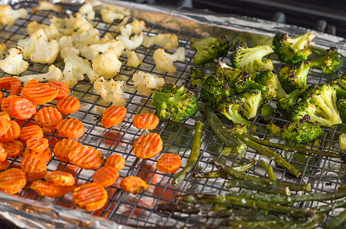Frozen veggies after roasting