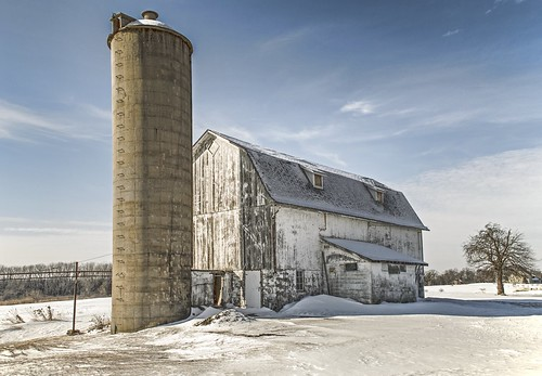 winter usa sun snow cold color wisconsin architecture clouds barn rural landscape nikon midwest day farm gray farmland greatlakes silo elements weathered 1855mm racine 2014 kitlense d5100