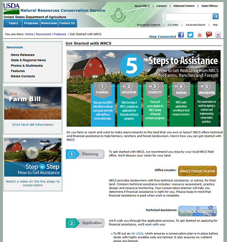 The Get Started page is a new addition to the NRCS website, and it provides the steps to assistance.