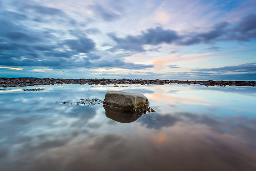 sunset reflection pool rock somerset staudriesbay