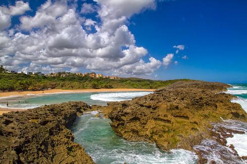 sky beach rocks day cloudy puertorico playa rocas manati naturalpool marchiquita