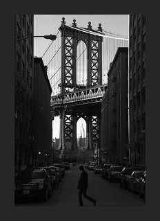View of One of The Manhattan Bridge Towers From DUMBO_NYC_B&W