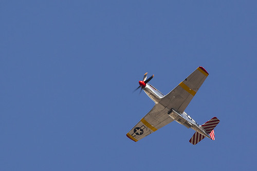 North American P-51 Mustang over downtown Sunnyvale, California during Wings of Freedom Tour