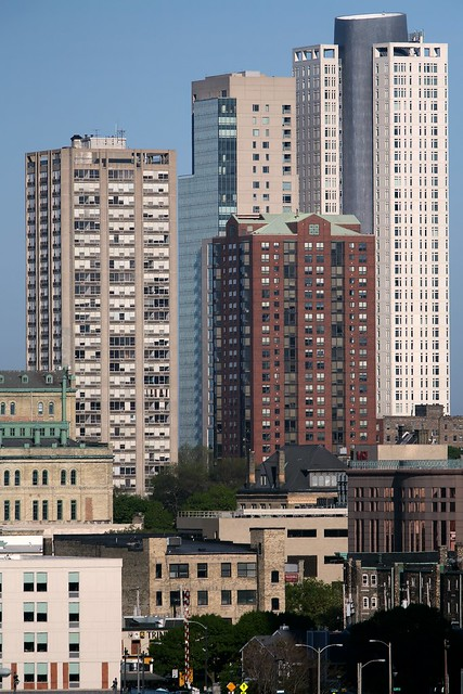 Four Towers: (left to right): Juneau Village B, Kilbourn Tower, Yankee Hill South, University Club Tower