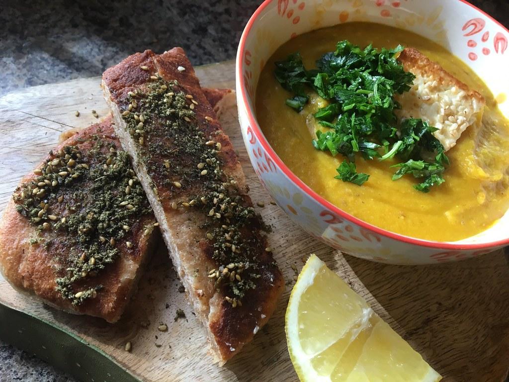 Egyptian lentil soup and homemade spelt pita