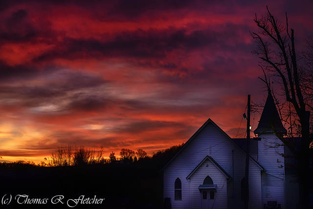 Mountain Sunrise and Church