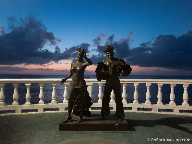 Statues along the boardwalk