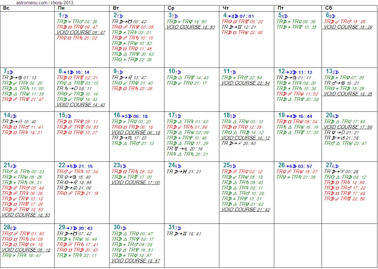 Астрологический календарь на ИЮЛЬ 2013