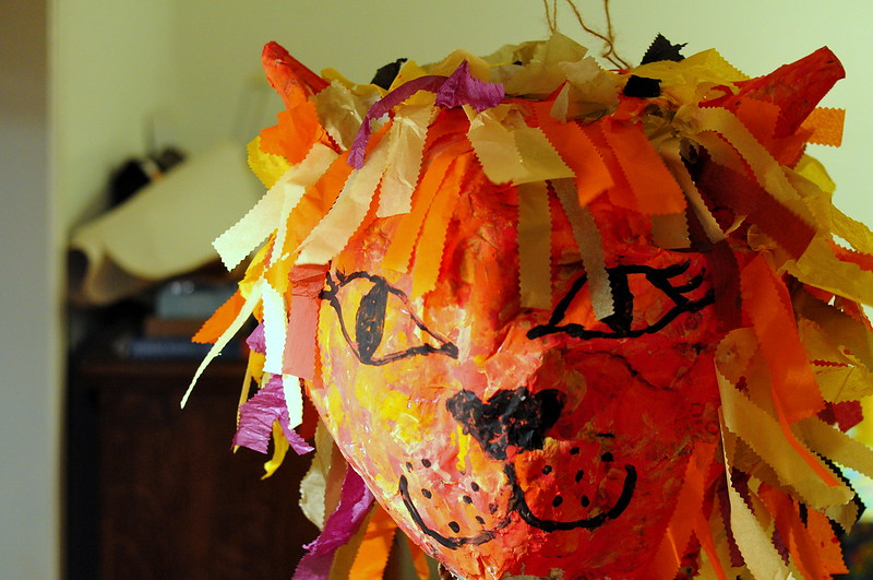 paper mache, pinata, lion head, birthday activity