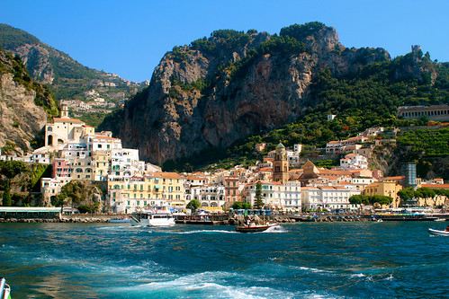 The town of Amalfi as seen from the water.