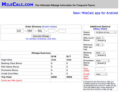 milecalc - frequent flyer mileage calculator