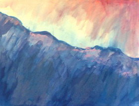 Mountain Peaks with Pink Sky (Acrylic Painting) Repost by randubnick