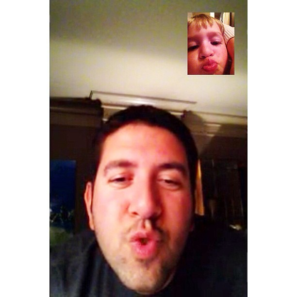 FaceTime kisses with Daddy this week - he is away for work