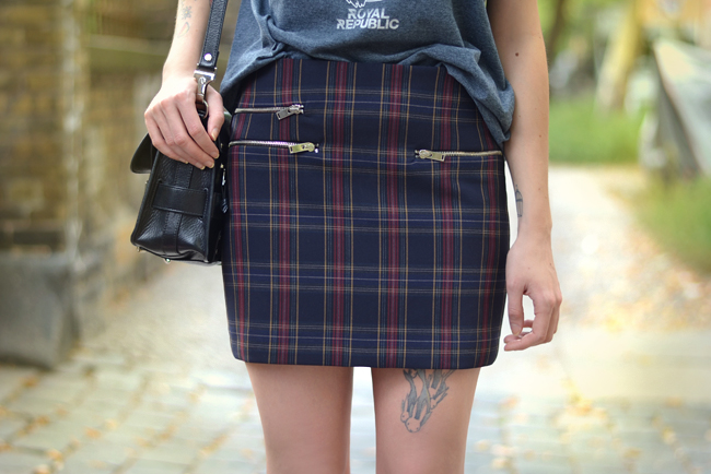 Check Print Royal Republic shirt Proenza Bag Outfit Blogger 3