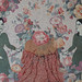 芭梅菈‧埃米亞,溝通Easy to talk hard to communicate, 木刻版印於二十世紀初法國布料、印花棉布、線, 78 x 45.5 cm, 2013