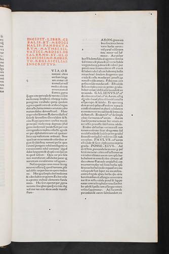 Incipit printed in red in Silvaticus, Matthaeus: Liber pandectarum medicinae