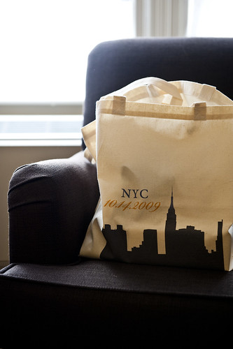 KateRussWedding_NYC tote bag favors_photo by Augie Chang
