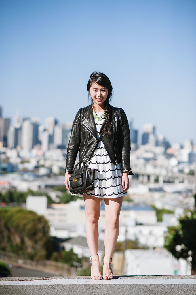 sf fashion blogger, choies dress, h&m icons leather jacket, portrero hill photography, readytwowear
