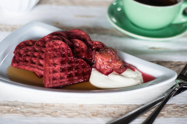 red beet waffles with rhubarb and greek yogurt