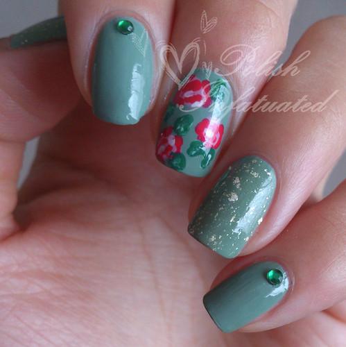 green vintage roses