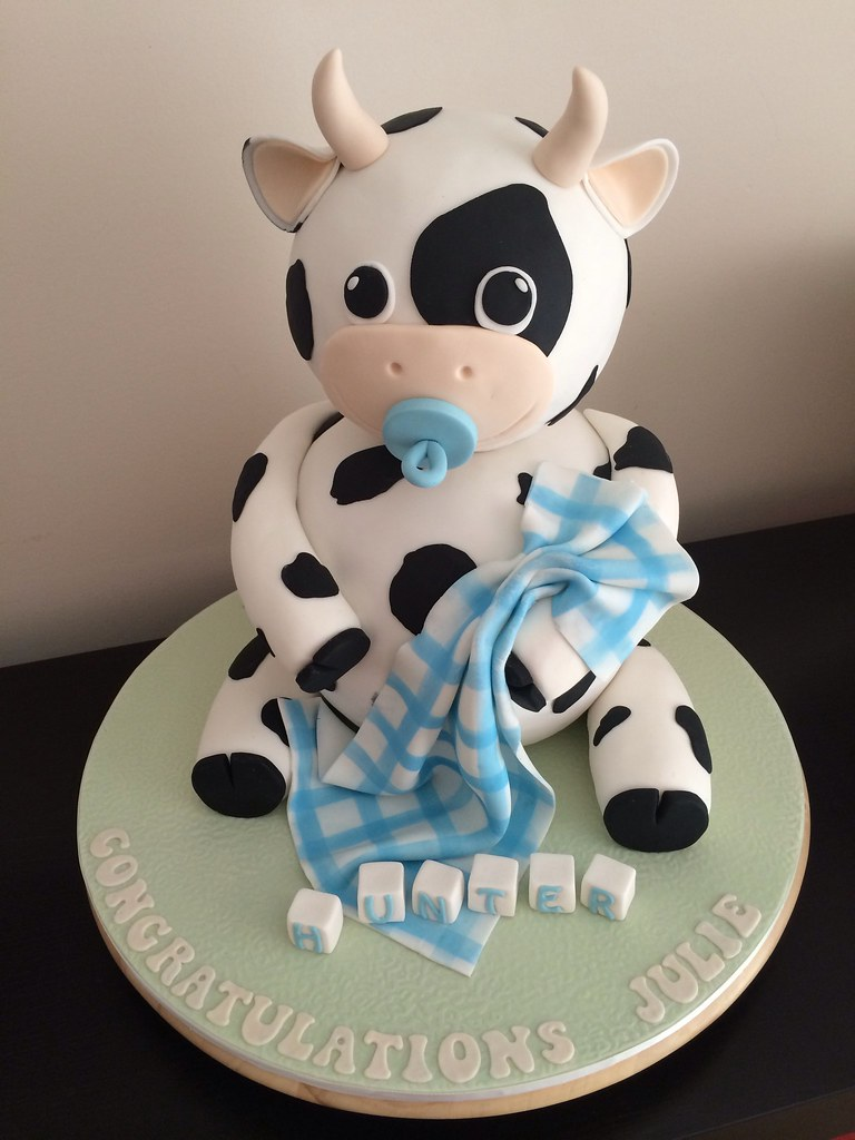Baby Cow Shower Cake
