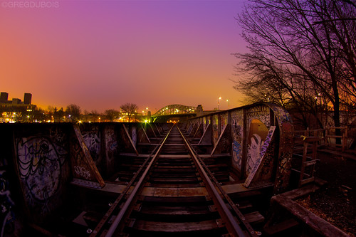 CSX Railroad Bridge x Boston University Bridge at Dawn, Cambridge MA by Greg DuBois Photography