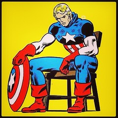 Captain America -- red, white, and blue. And yellow. #comicbooks