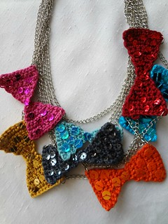 Crocheted Bow Necklaces