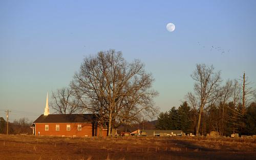 trees sunset moon church cemetery birds landscape