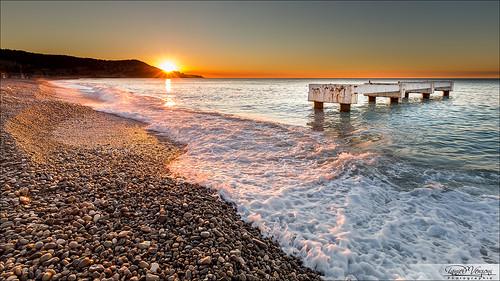 sunset sea sky sun mer france beach nature water stone sunrise soleil seaside nice twilight eau waves stones pierre wave pebbles pebble ciel pierres 06 vague vagues crépuscule plage pontoon ponton 6d méditerranée galets alpesmaritimes galet 1635mm soleilcouchant soleillevant