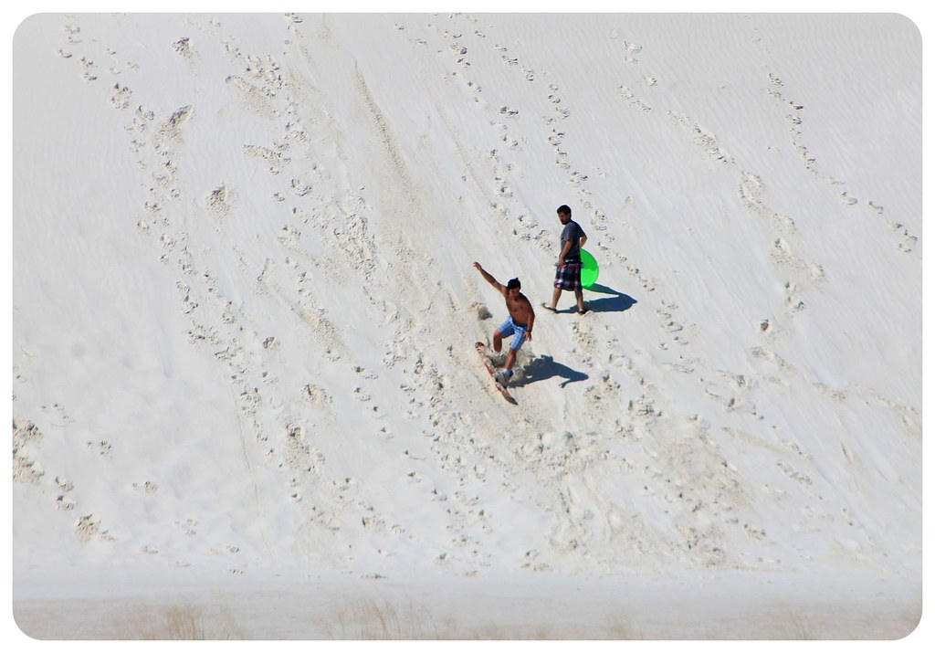 White Sands New Mexico sand boarder