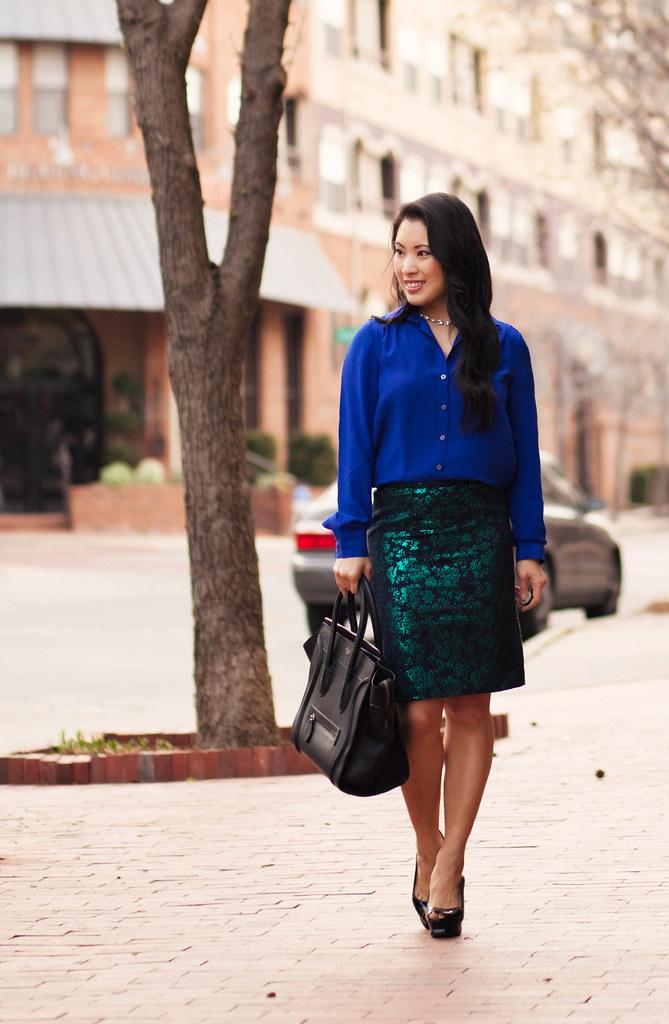 cute & little blog | petite fashion | cobalt silk shirt, j.crew emerald floral brocade skirt, peep-toe slingback pumps outfit