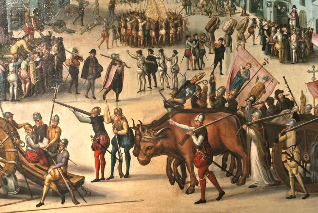 Pillage et destructions liées aux guerres de religions, oeuvre du musée d'histoire de Lyon.