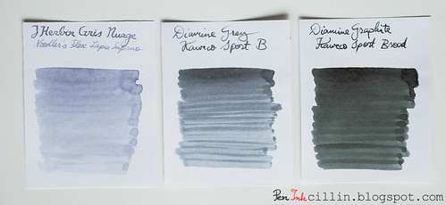 Gris Nuage vs Diamine Grey vs Diamine Graphite