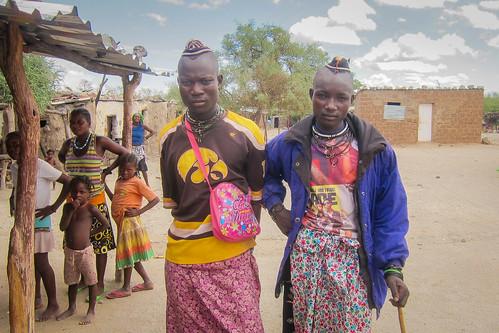 Himba young men in Chitado, Cunene