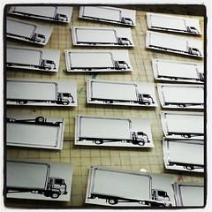 Individually screenprinted panel truck blanks we printed for #stickershock