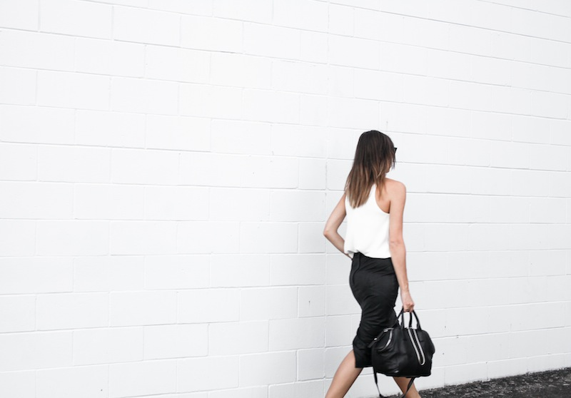 modern legacy blog street style off duty Camilla and Marc high neck white top ASOS leather pencil skirt Helmut Lang oxfords loafers monochrome minimalist Alexander Wang blogger what to wear to work (7 of 10)