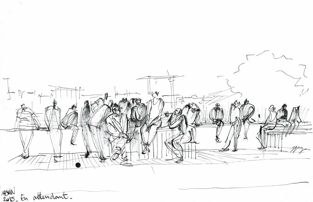 En attendant. Migrants de la Chapelle et d'Austerlitz. Paris, 14 juin 2015 © Laura Genz