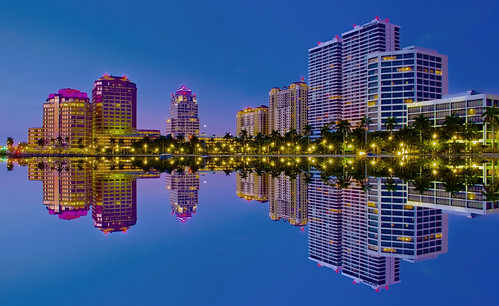 westpalmbeach palmbeachcounty city cityscape urban downtown skyline southflorida density centralbusinessdistrict skyscraper building architecture commercialproperty cosmopolitan metro metropolitan metropolis sunshinestate realestate intracoastalwaterway palmbeach henryflagler bluehour reflectionsonwater palmtrees urbanpalms