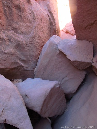 Part of the Choke Stone in Spooky Slot, Dry Fork Slots, Grand Staircase-Escalante National Monument, Utah